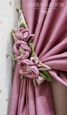 Curtains And Draperies, Elegant Curtains, Shabby Chic Curtains, Diy Curtains, Hand Embroidery Dress, Silk Ribbon Embroidery, Curtain Designs For Bedroom, Curtain Tie Backs Diy, Painted Curtains