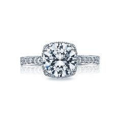 Tacori Dantela 2620RDMNPW Mini Pave Halo Engagement Ring Setting Petite and sweet. This 18k white gold Tacori Dantela mini pave halo engagement ring setting is also available for special order in 1…