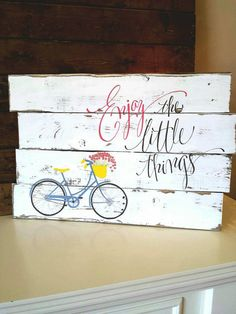 Reclaimed wood wall art - Enjoy the little things - Vintage bicycle - Pallet bicycle art - Reclaimed pallet art - Rustic Shabby chic - Reclaimed Wood Wall Art, Wood Pallet Signs, Repurposed Wood, Pallet Art, Wall Wood, Pallet Projects, Bicycle Decor, Bicycle Art, Bicycle Design