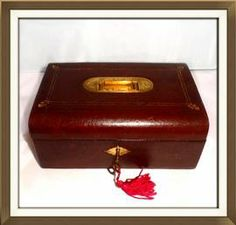 Beautiful Antique Maroon Leather Jewellery Box