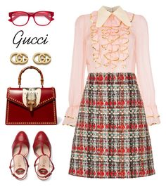 """Feeling Refreshed on Monday"" by ames-ym on Polyvore featuring Gucci, gucci, tweedskirt and ruffleblouse"