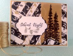 handmade Christmas card from  Rambling Rose Studio by Billie Moan  ... black, white and gold ... herringbone quilting technique with patterned papers ... great card! ... Stampin' Up!