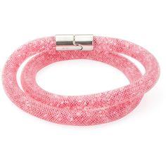 Swarovski Women's Stardust Friendship Bracelet - Pink found on Polyvore featuring jewelry, bracelets, pink, stainless steel jewellery, swarovski jewelry, stainless steel jewelry, pink bangles and magnet jewelry