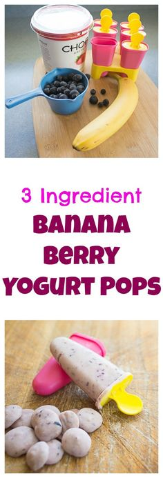"One of our fave summer ""treats"" - healthful (without tasting healthy) banana blueberry yogurt pops."