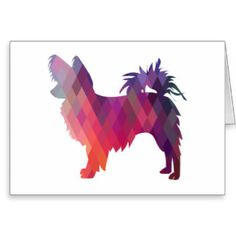 Long-haired Chihuahua Geometric Pattern Silhouette Greeting Card