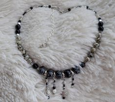 Tribal Black Jasper Beaded Necklace with Silver by LKArtChic