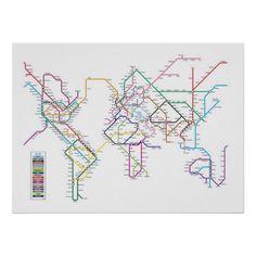 World map as a tube metro subway system art print 596 world london tube style world map gumiabroncs Choice Image