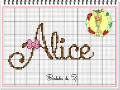 Alice Alice Name, Blackwork Embroidery, Tissue Boxes, Beautiful Babies, Cross Stitching, Pixel Art, Alice In Wonderland, Alphabet, Projects To Try