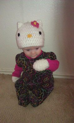 Hello Kitty hat & mittens set. $35. https://sphotos-b.xx.fbcdn.net/hphotos-ash4/304382_456249827759607_1224068370_n.jpg #crochet #hellokitty