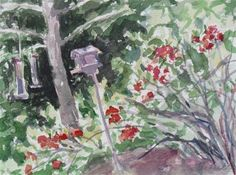"""Quince and Bird Feeders (matted)"" - Original Fine Art for Sale - © Lynne Schulte"