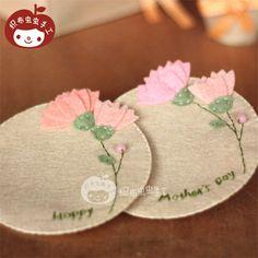 不织布材料包diy手工康乃馨花朵母亲节礼物杯垫2只-淘宝网