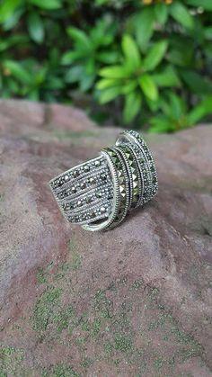 925 Sterling silver marcasite ring handmade belt pattern elegant stylish Size 8 #Handmade #Band