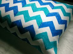 Blue and Turquoise Chevron hand printed lumbar size linen pillow case. $38.00, via Etsy.