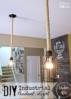 DIY Industrial Pendant Light: Bless'er House | Fun way to give builder grade lights some personality!