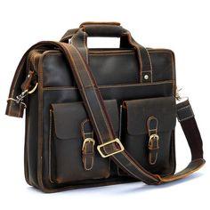 "Vintage Handmade Crazy Horse Leather Briefcase / Satchel / Messenger / 11"" MacBook Air or 12"" Laptop Bag"