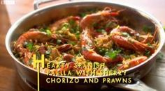 lorraine pascale hearty paella with chorizo and prawns