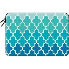 Macbook Sleeve - Aqua Ombre Quatrefoil ($60) ❤ liked on Polyvore featuring accessories, tech accessories and macbook sleeve