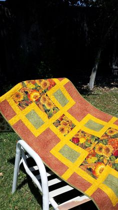 Handmade Quilted Sunflower Table Runner  by QuiltsClothsCovers, $55.00