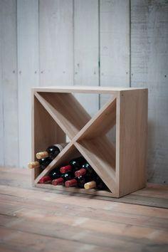 A stylish, modern Raw Oak Wine Rack from Garden Trading
