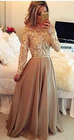 2016 Custom Charming Long Prom Dress,Beading Long Sleeves Evening Dress,Off the shoulder Party Dress