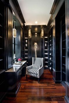 Furnishing ideas dressing room furniture elegant wooden black wardrobe Chair