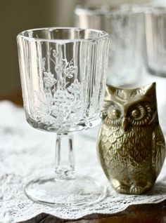 Vintage crystal glass and a little brass owl Cut Glass, Glass Art, Westmoreland Glass, Crystal Glassware, Crystal Clear Water, Crystal Palace, Glass Collection, Vintage Glassware, Decoration