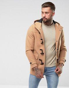 ASOS Wool Mix Duffle Coat In Camel - Tan
