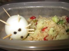 Oeuf souris et salade de couscous Cereal, Grains, Rice, Breakfast, Food, Couscous Salad, Computer Mouse, Projects, Morning Coffee