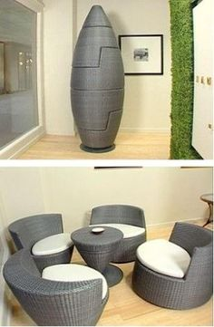 Stacking Obelisk chairs - clever!