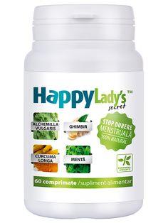 Scaderea disconfortului menstrual HappyLady's Secret - Un supliment alimentar pentru femei, recomandat pentru atenuarea disconfortului menstrual si reglarea balantei hormonale.