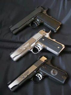 Nighthawk 1911s A shooter's fever dream - a trio of custom 1911 pistols. Heavy .45 caliber goodness.