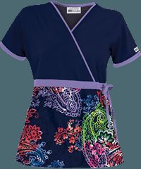 UA Pretty Paisley Blue Mock Wrap Print Scrub  Pants: Navy, Dark Lilac, Royal, Fuchsia