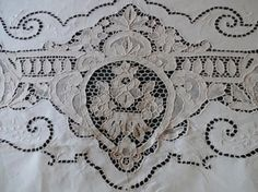 Old Italian Needle Lace Linen Table Cloth