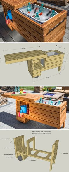 Take your outdoor entertaining up a notch with this rolling serving center. It holds a cooler plus offers shelf space for other items. The sliding top covers everything up when not in use, and it can still be used when open. Made from cedar, this project will serve you in style for years. Get the free DIY plans at buildsomething.com