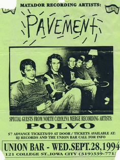 Pavement damn what a great band! Rock Posters, Band Posters, Concert Posters, Festival Posters, Poster Wall, Poster Prints, Gig Poster, Vintage Music Posters, Retro Posters