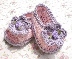 Crochet Infant Sandals Pink w Lilac Trim Cotton Yarn  3 6 mo