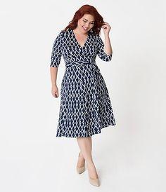 352f81c763 Retro Style Plus Size Navy Blue   Posey Print Gabriella Jersey Dress –  Unique Vintage Staple