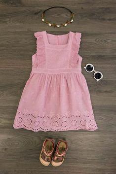 Dusty Rose Eyelet Lace Dress
