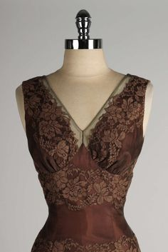 Vintage 1950's Chocolate Brown Lace Cocktail Dress image 2