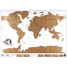 Personalized Golden World Map. Easy scratch off gold layer reveals detail and color. Educational! by ALowesOnline on Etsy