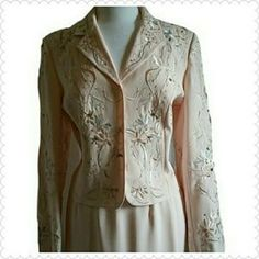 John Meyer Pink Skirt Suit with embroidered Jewel Embellishments.  Size 12