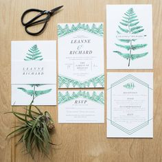 This personalised Botanical wedding invitation is perfect if you are planning a wedding with a modern botanical theme.The botanical ferns have been hand painted which has then been digitised and put on to this beautiful stationery suite. Botanical wedding stationery designed by Sincerely May    www.sincerelymay.co.uk   