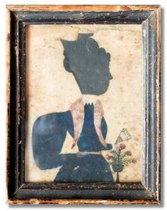"""PUFFY SLEEVE ARTIST SILHOUETTE. American, ca. 1830. Hollow cut portrait of a woman wearing a hair comb. Her dress featuring the typical puffy sleeve is painted in dark blue watercolor. Additional details include a fan and small vase of flowers. Foxing and minor edge damage. Black painted frame has wear. 5 1/8""""h. 4 1/8""""w."""