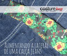 Aumentando a lateral de uma calça jeans. Aumentando 3 cm na lateral de uma calça jeans a partir dos quadris, usando uma fita decorada, mantendo o mesmo cós. (not pregnant, but definitely seems easier than losing 5 pounds!)