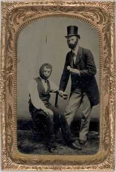 """ca. 1860-80's, [tintype portrait of a dentist and his patient; accompanied by a carte de visite with an advertisement for """"R.D. Neal, Ambrotype Artist and Dentist"""".]"""