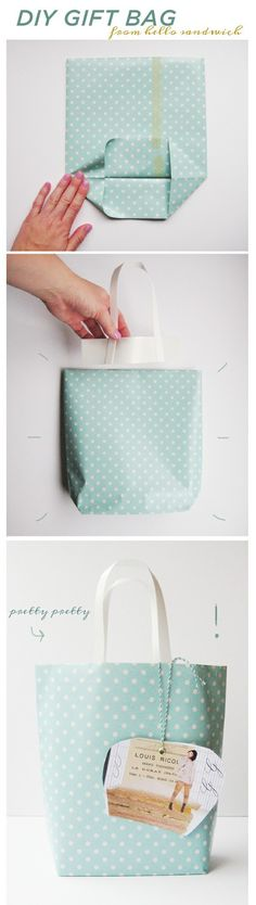 DIY Gift Bag (x). Use fabric scraps and sew bottom. I think I'll try with paper and card inside at the bottom to strengthen. Will keep all my Christmas wrapping uniformed! : )