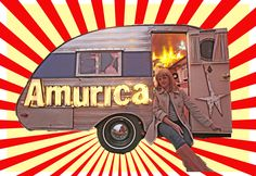 Amurica is a 1959 teardrop camper measuring 10-ft long and 6-ft wide that has been transformed into one phenomenal portable photo-booth     The inside is amazing