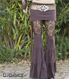 Lace Zumi Dance Pants  in Brown  Floral Lace by ElvenForest, $110.00