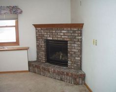 used brick corner fireplace | Brick Corner Fireplace Design Ideas