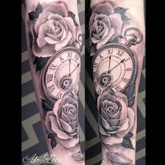 Black and Gray Half Sleeve Tattoos Clocks. - Tattoo Pins - Black and Gray Half Sleeve Tattoos Clocks. Time Clock Tattoo, Clock Tattoo Sleeve, Clock And Rose Tattoo, Rose Clock, Clock Tattoos, Half Sleeve Tattoos For Guys, Half Sleeve Tattoos Designs, Best Sleeve Tattoos, Tattoo Designs